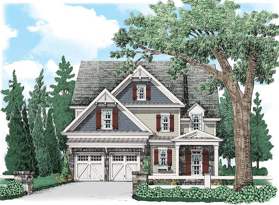 Colonial , Craftsman , Traditional House Plan 83040 with 4 Beds, 4 Baths, 2 Car Garage Elevation