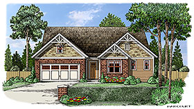 House Plan 83041 | Bungalow Cottage Craftsman Style Plan with 2218 Sq Ft, 3 Bedrooms, 3 Bathrooms, 2 Car Garage Elevation
