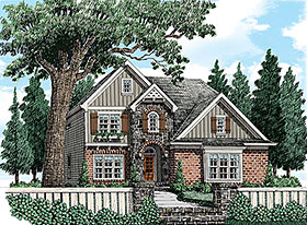 House Plan 83042 | Craftsman European Traditional Style Plan with 2065 Sq Ft, 4 Bedrooms, 3 Bathrooms, 2 Car Garage Elevation