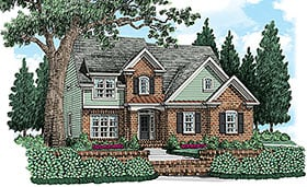 House Plan 83043 | Cottage Traditional Style Plan with 2076 Sq Ft, 4 Bedrooms, 3 Bathrooms Elevation