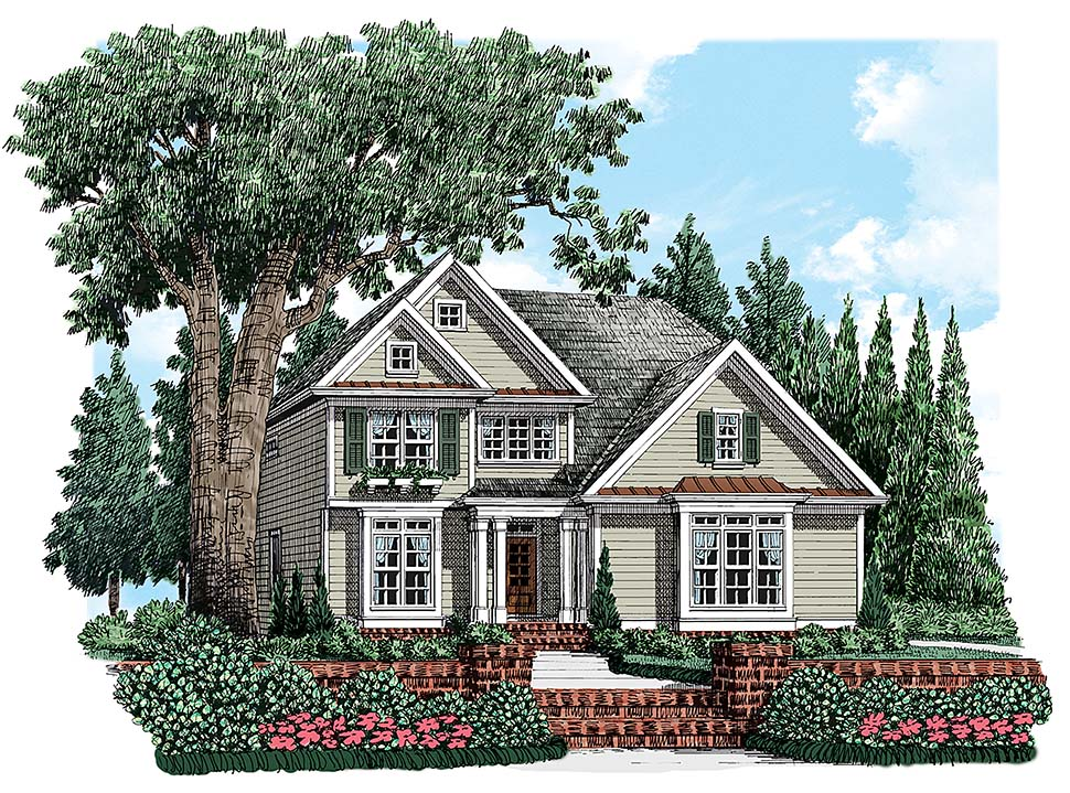 House Plan 83044 | Bungalow Cottage Craftsman Traditional Style Plan with 2077 Sq Ft, 4 Bedrooms, 3 Bathrooms, 2 Car Garage Elevation