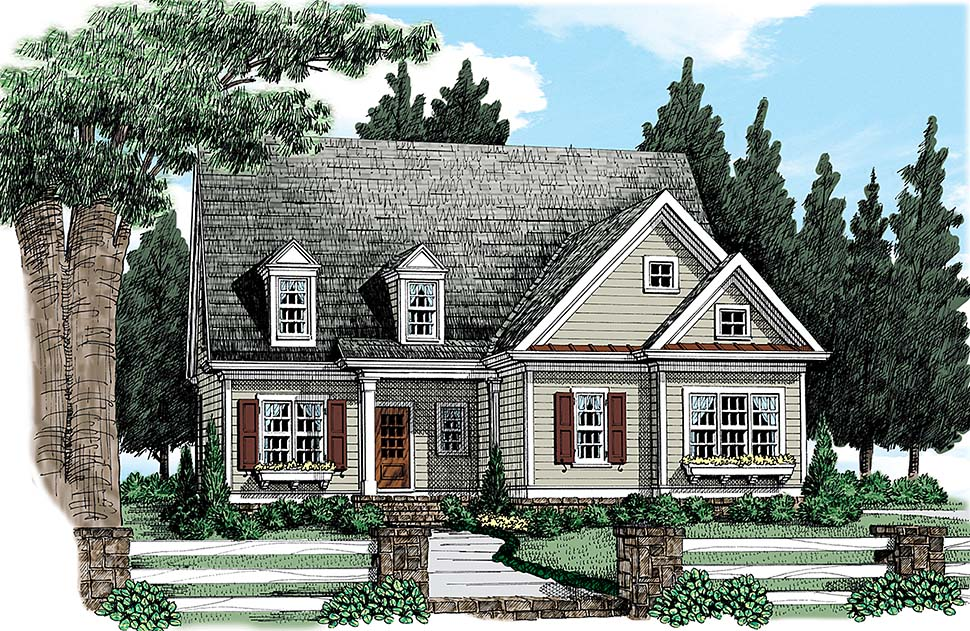 Colonial Southern Traditional Elevation of Plan 83048