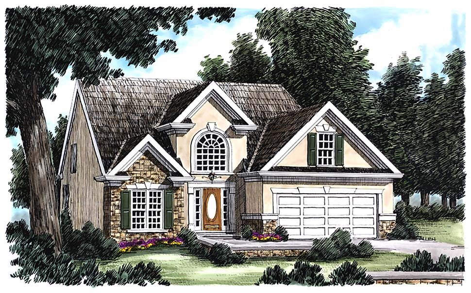 Traditional House Plan 83050 with 3 Beds, 3 Baths, 2 Car Garage Elevation