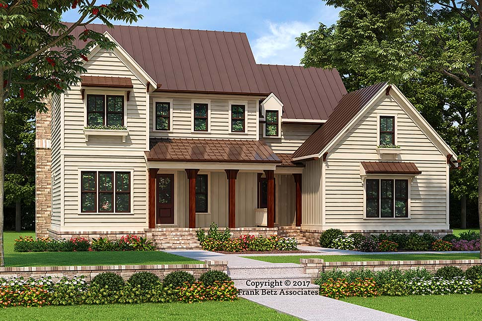 Country , Farmhouse , Traditional House Plan 83053 with 4 Beds, 4 Baths, 2 Car Garage Elevation