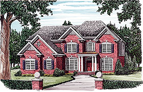 Colonial , European , Traditional House Plan 83054 with 5 Beds, 4 Baths, 3 Car Garage Elevation