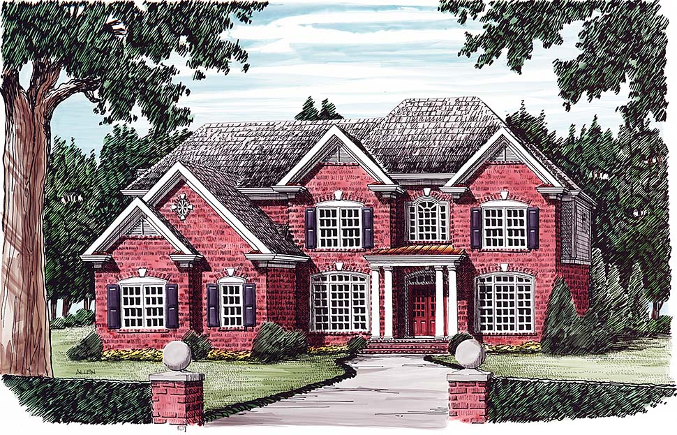 Colonial, European, Traditional House Plan 83054 with 5 Beds , 4 Baths , 3 Car Garage Elevation