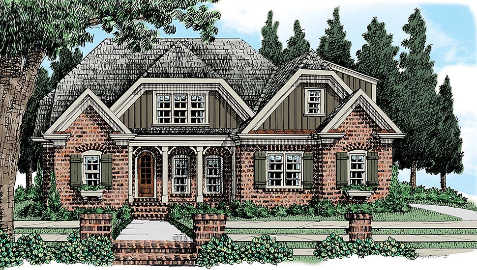 Colonial , European , French Country House Plan 83056 with 3 Beds, 3 Baths Elevation
