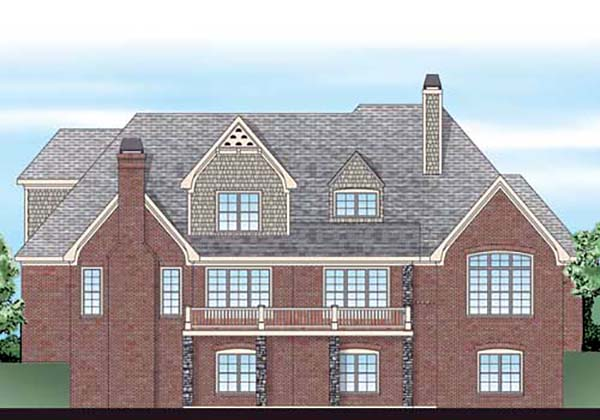 European , French Country , Traditional House Plan 83058 with 4 Beds, 4 Baths, 3 Car Garage Rear Elevation