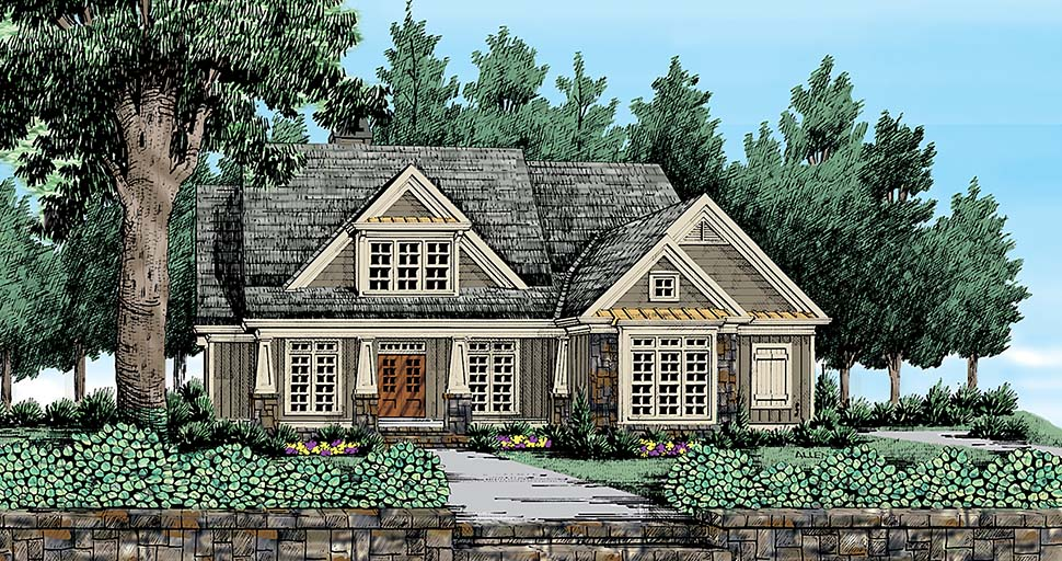 Bungalow, Craftsman, Traditional House Plan 83060 with 4 Beds, 4 Baths, 2 Car Garage Front Elevation