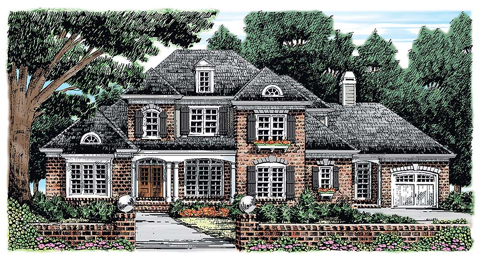 European, French Country House Plan 83061 with 5 Beds, 5 Baths, 2 Car Garage Elevation