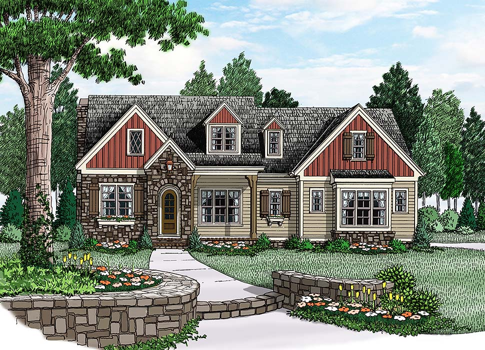Ranch House Plan 83063 with 4 Beds, 3 Baths, 2 Car Garage Elevation