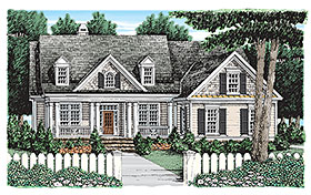 Country , Cottage , Colonial House Plan 83065 with 4 Beds, 3 Baths, 2 Car Garage Elevation