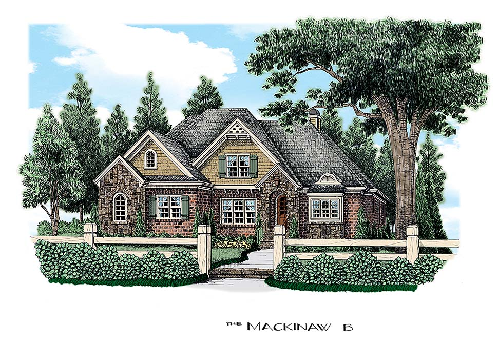 Colonial, European House Plan 83068 with 4 Beds, 3 Baths, 2 Car Garage Elevation