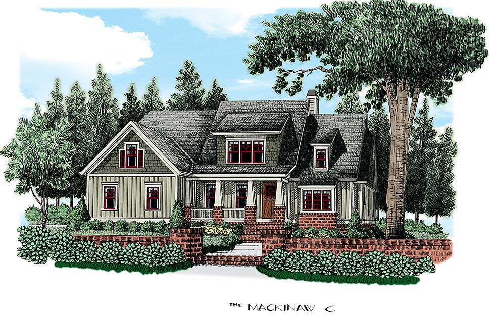 Craftsman , Country , Bungalow House Plan 83069 with 4 Beds, 3 Baths, 2 Car Garage Elevation