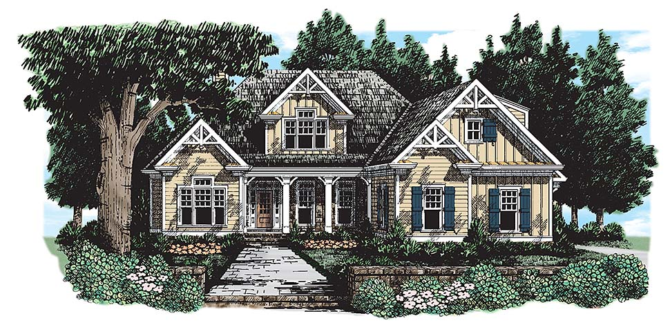 Craftsman House Plan 83071 with 3 Beds, 3 Baths, 3 Car Garage Elevation