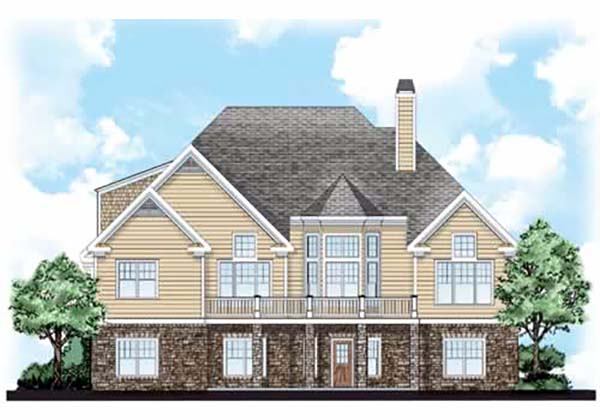Craftsman House Plan 83071 with 3 Beds, 3 Baths, 3 Car Garage Rear Elevation