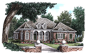 Traditional , French Country , European House Plan 83073 with 3 Beds, 3 Baths, 2 Car Garage Elevation