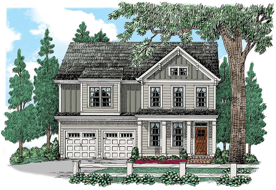 Traditional , Colonial House Plan 83075 with 4 Beds, 3 Baths, 2 Car Garage Elevation