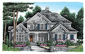 European , Traditional House Plan 83078 with 5 Beds, 4 Baths, 2 Car Garage Elevation