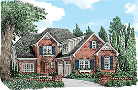 Country , European , French Country , Traditional House Plan 83080 with 3 Beds, 3 Baths, 2 Car Garage Elevation