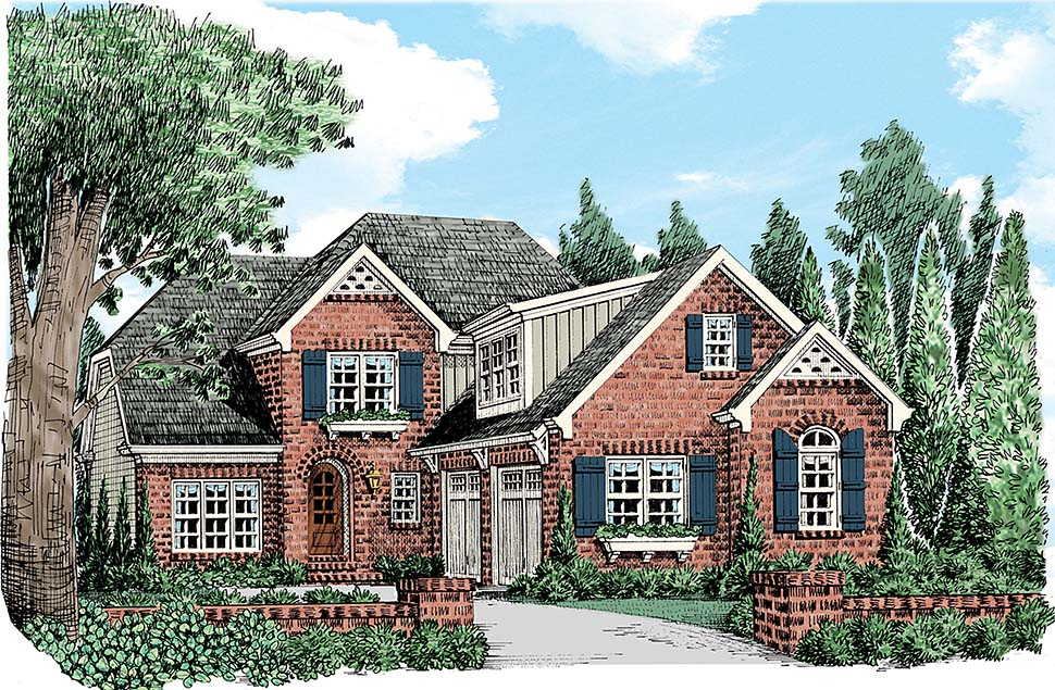 Country, European, French Country, Traditional House Plan 83080 with 3 Beds, 3 Baths, 2 Car Garage Elevation