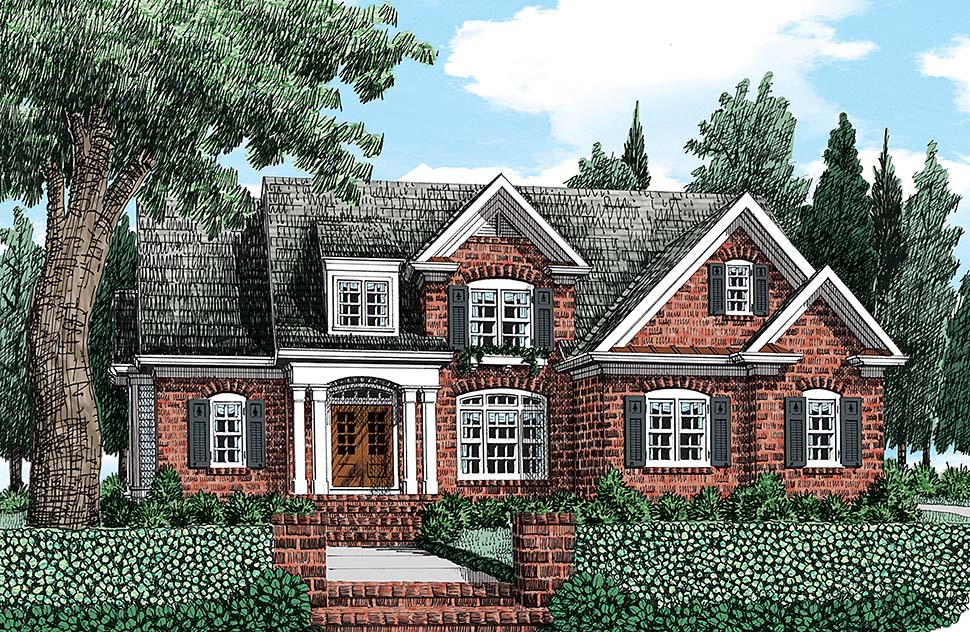 House Plan 83084 | Colonial Traditional Style Plan with 2398 Sq Ft, 4 Bedrooms, 3 Bathrooms, 2 Car Garage Elevation