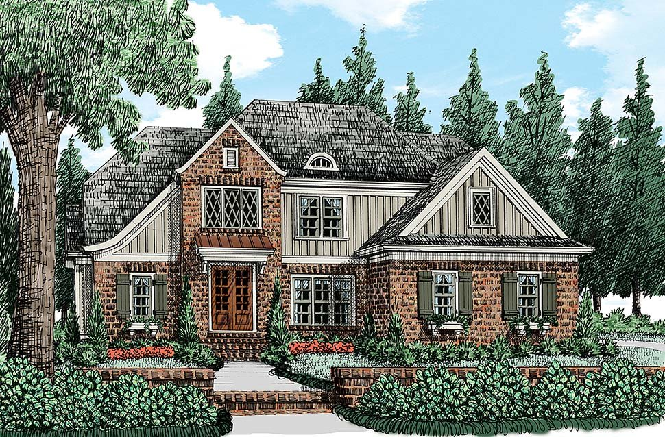 Tudor , Traditional , European House Plan 83085 with 4 Beds, 3 Baths, 2 Car Garage Elevation