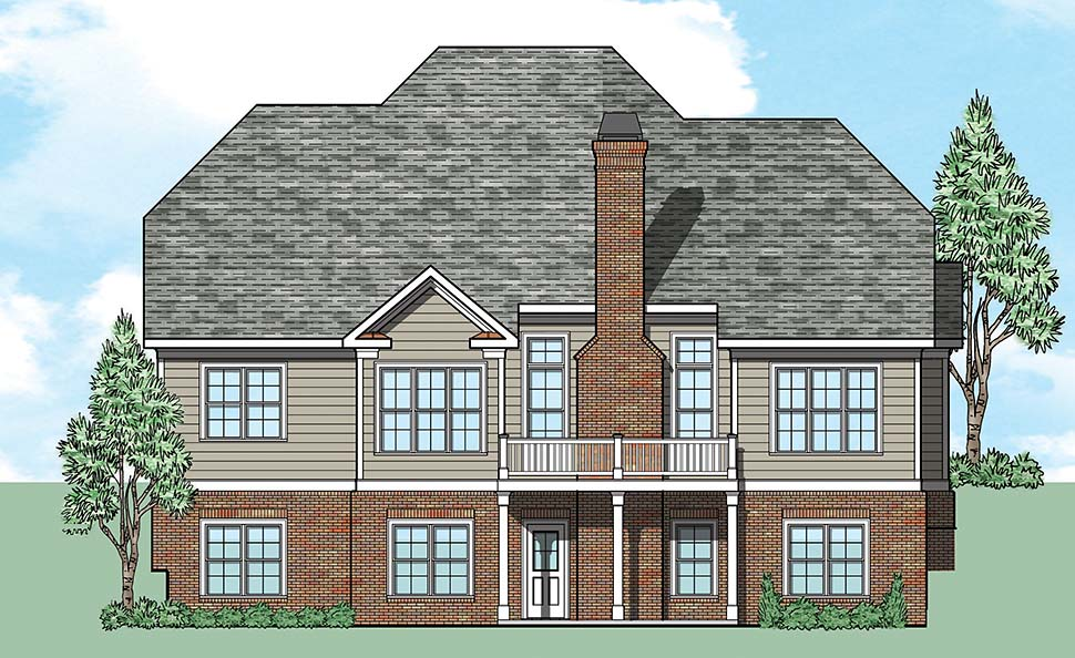 Tudor , Traditional , European House Plan 83085 with 4 Beds, 3 Baths, 2 Car Garage Rear Elevation