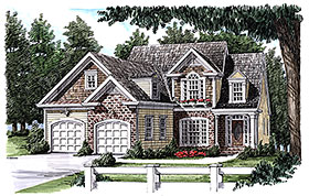 European , Traditional House Plan 83087 with 3 Beds, 3 Baths, 2 Car Garage Elevation