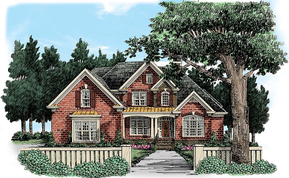 Traditional House Plan 83090 with 4 Beds, 4 Baths, 3 Car Garage Elevation