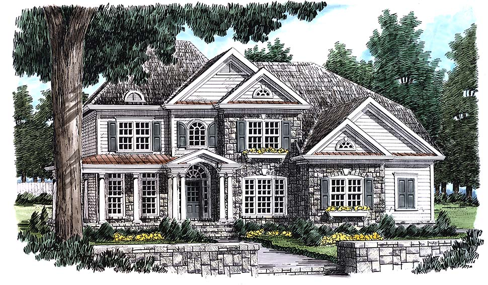 Country, Southern, Traditional House Plan 83091 with 5 Beds, 4 Baths, 2 Car Garage Elevation