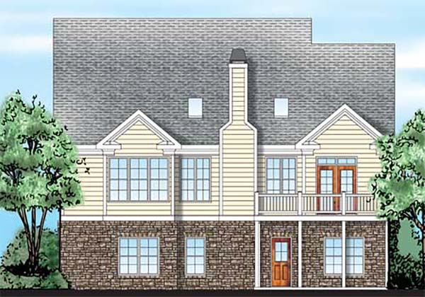 Cottage Country Craftsman Southern Rear Elevation of Plan 83092