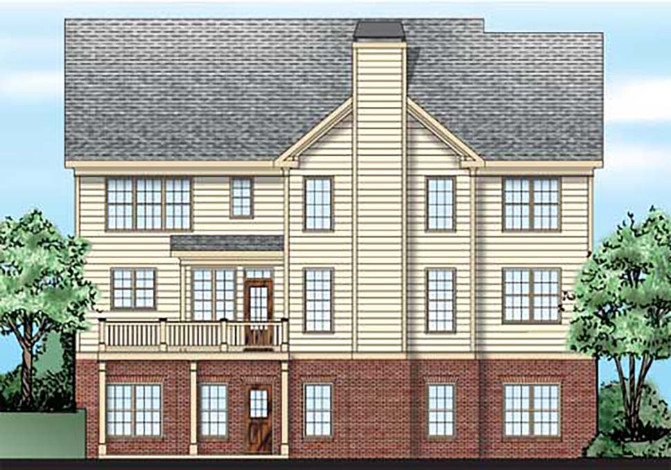 Traditional House Plan 83093 with 4 Beds, 3 Baths, 2 Car Garage Rear Elevation