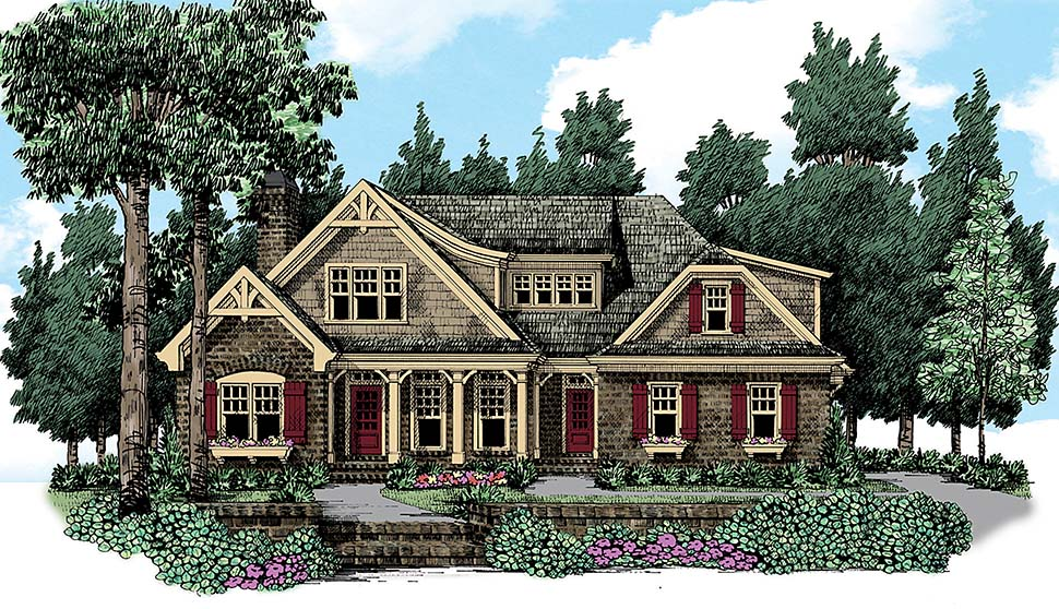 Cottage , Country , Craftsman , Traditional House Plan 83096 with 4 Beds, 3 Baths, 2 Car Garage Elevation