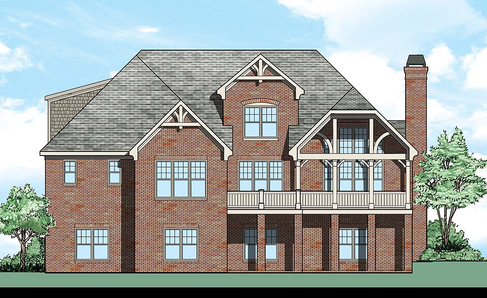 Cottage , Country , Craftsman , Traditional House Plan 83096 with 4 Beds, 3 Baths, 2 Car Garage Rear Elevation