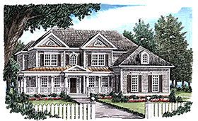 House Plan 83097 | Colonial Southern Traditional Style Plan with 3312 Sq Ft, 5 Bedrooms, 5 Bathrooms, 2 Car Garage Elevation