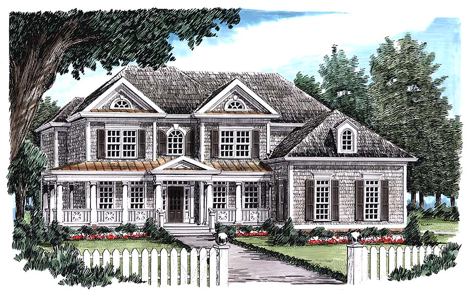 Colonial Southern Traditional Elevation of Plan 83097