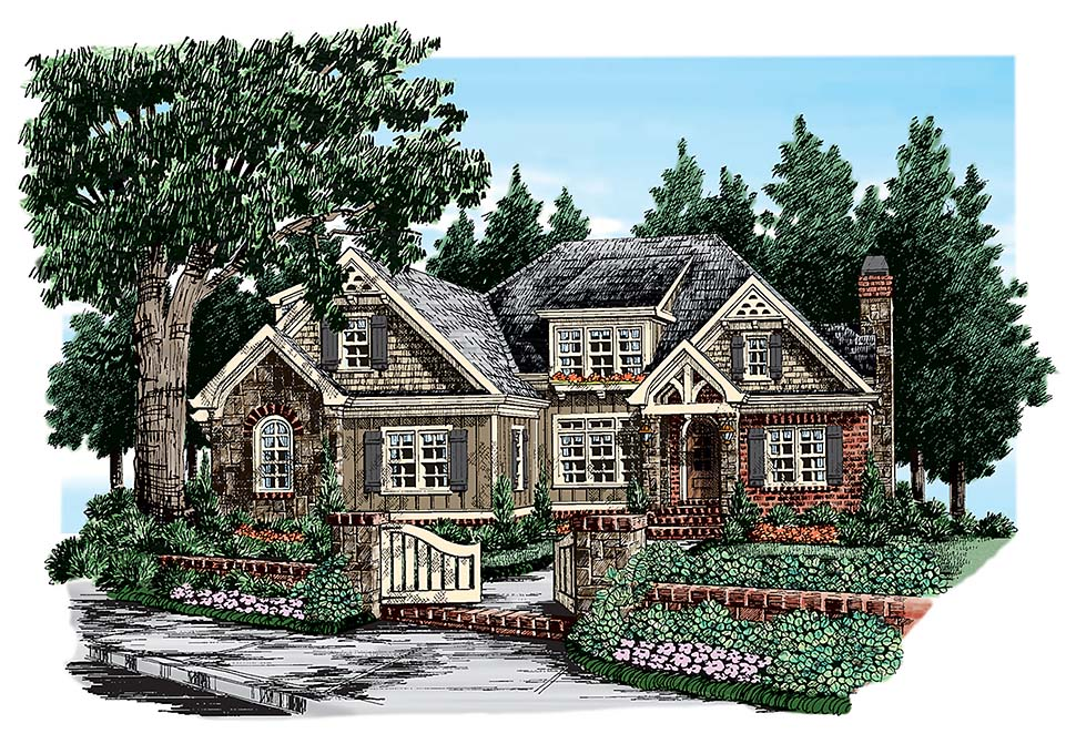 Cottage , Country , Craftsman , Southern House Plan 83100 with 4 Beds, 4 Baths, 2 Car Garage Elevation