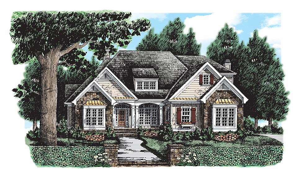 European Traditional House Plan 83103 Elevation