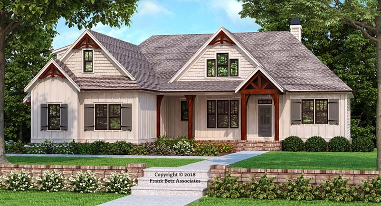 Craftsman, Farmhouse, Modern House Plan 83109 with 3 Beds, 2 Baths, 2 Car Garage Elevation