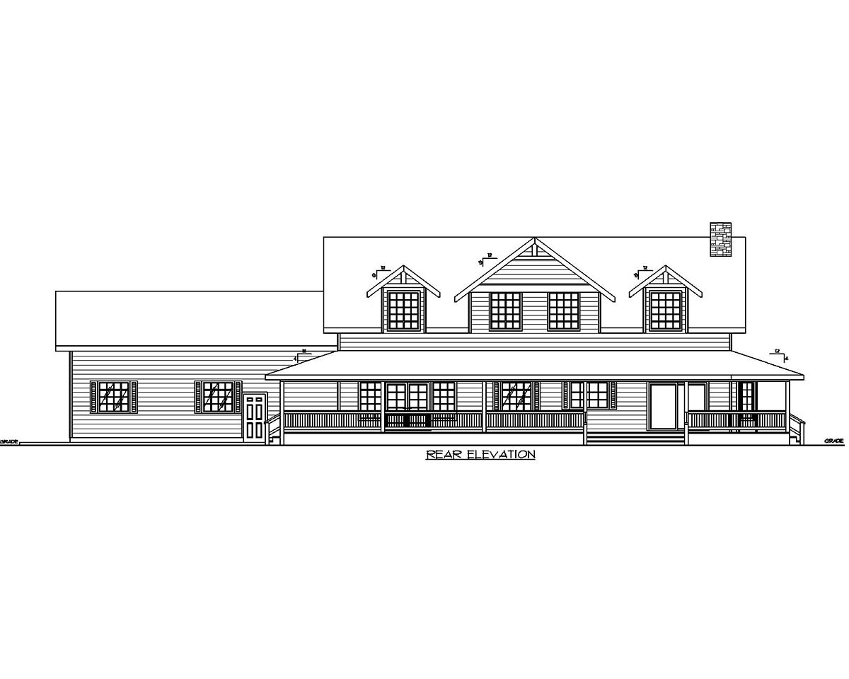 Country Traditional Rear Elevation of Plan 85101