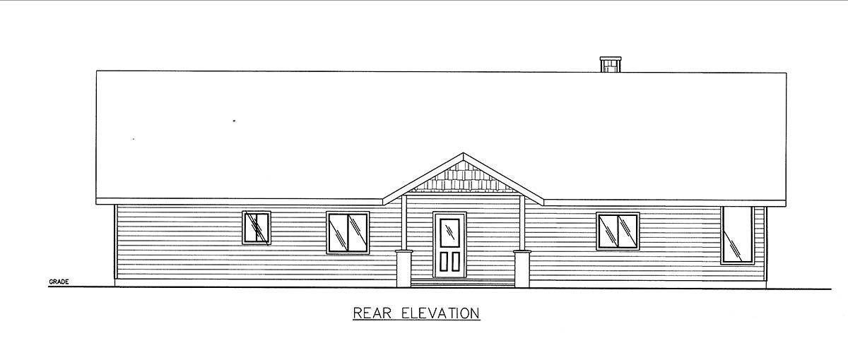 Craftsman, Ranch House Plan 85102 with 3 Beds, 3 Baths Rear Elevation