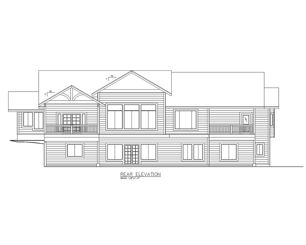 Craftsman Ranch Traditional Rear Elevation of Plan 85106