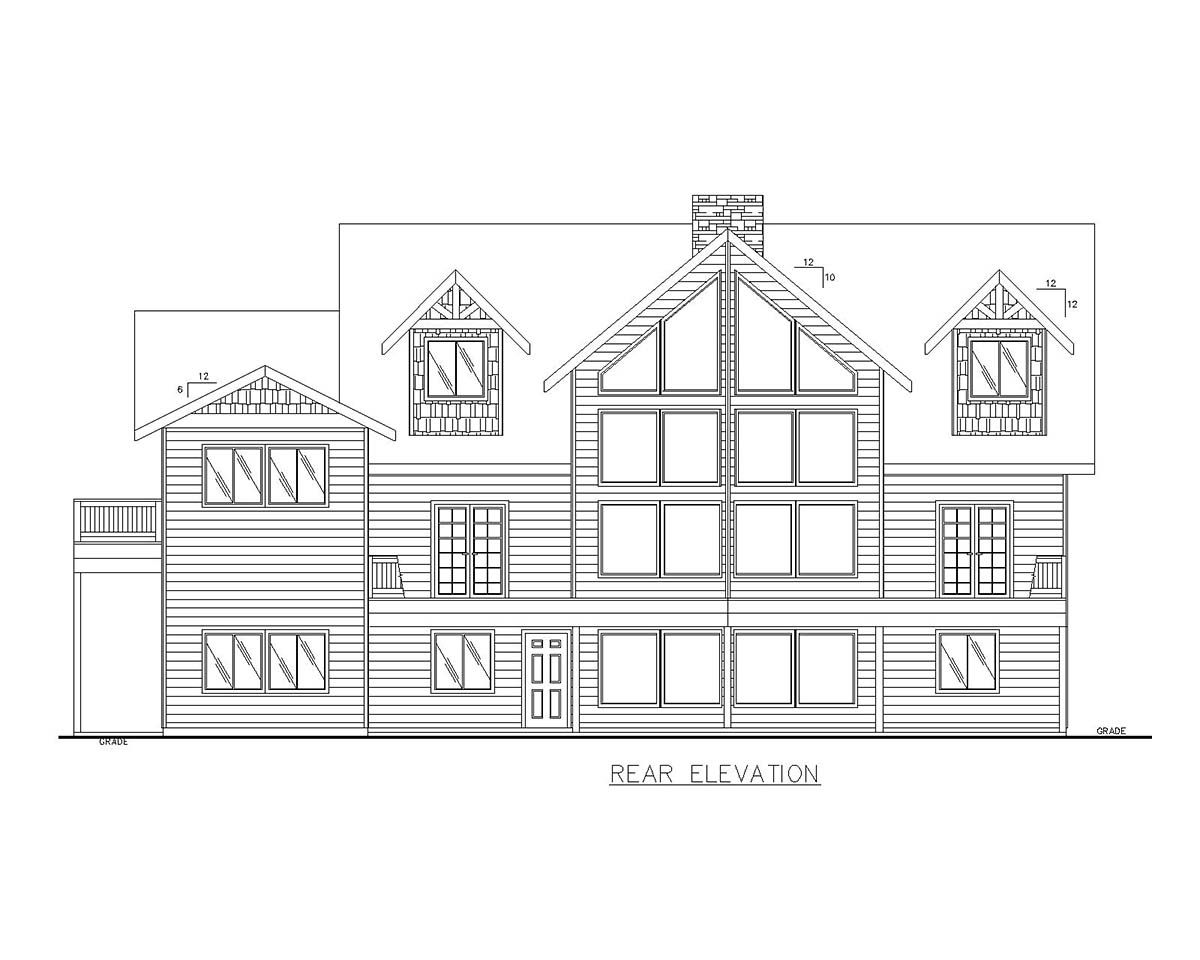 Cabin , Log House Plan 85110 with 4 Beds, 5 Baths, 3 Car Garage Rear Elevation