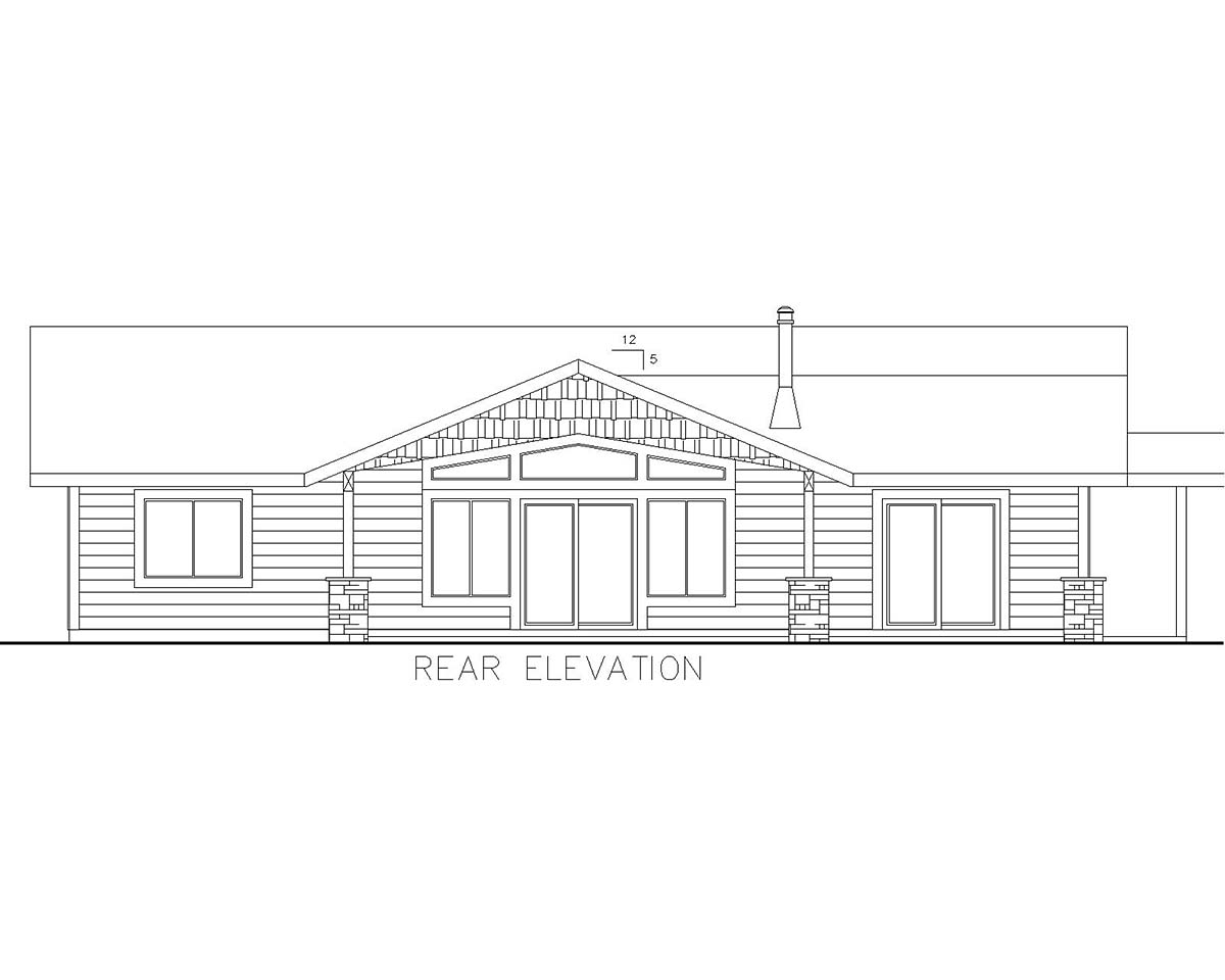 Ranch House Plan 85111 with 3 Beds, 2 Baths Rear Elevation