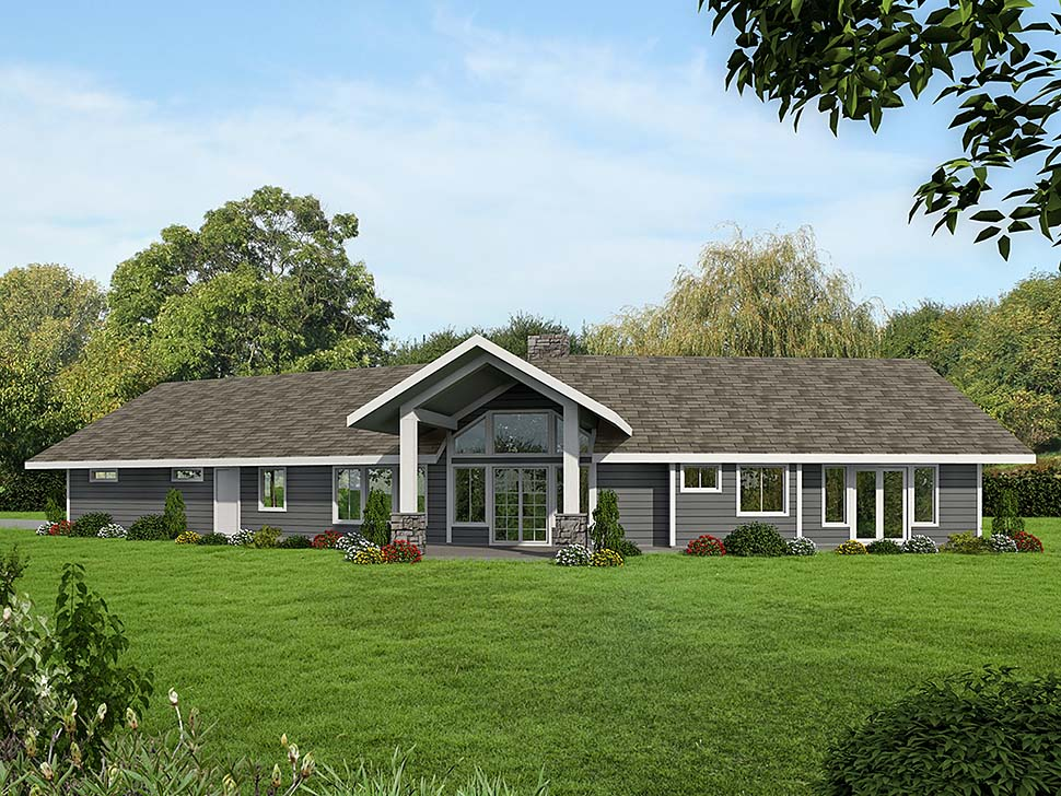 Ranch House Plan 85114 with 2 Beds, 3 Baths, 2 Car Garage Elevation