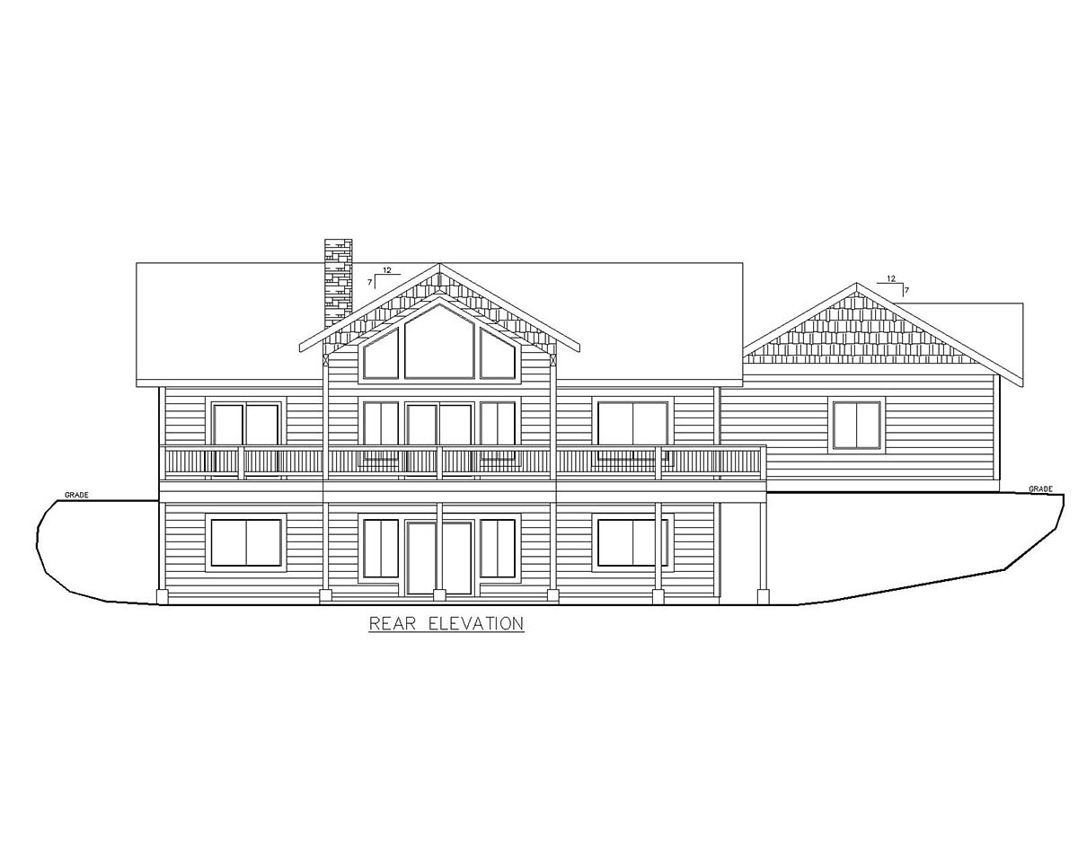 Craftsman House Plan 85118 with 4 Beds , 3 Baths , 2 Car Garage Rear Elevation