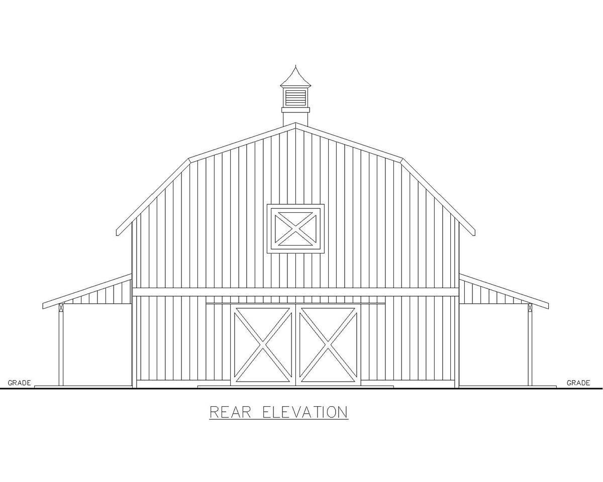 Farmhouse 1 Car Garage Apartment Plan 85124 with 3 Beds, 3 Baths Rear Elevation