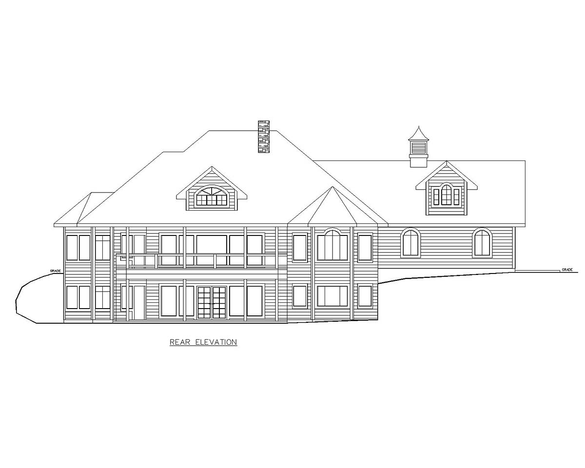 Country Craftsman Traditional Rear Elevation of Plan 85127