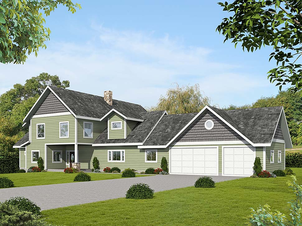 Ranch Traditional Elevation of Plan 85128